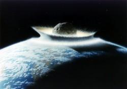 Dünya'ya çarpan bir meteor çizimi