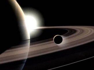 Cassini uydusu tarafından çekilen Titan ve Satürn fotoğrafı