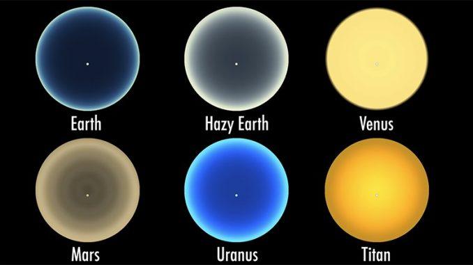 Diğer gezegenlerdeki gün batımı simülasyonuna ait fotoğraf