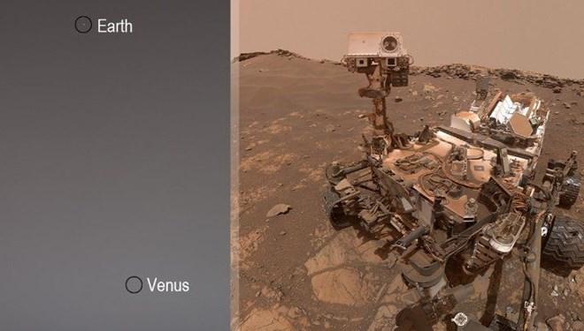 Curiosity'nin Mars'tan çektiği Dünya ve Venüs fotoğrafı