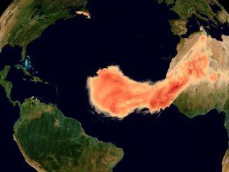 Sahara Çölü'nden yola çıkan dev toz bulutunun uzaydan çekilen fotoğrafı