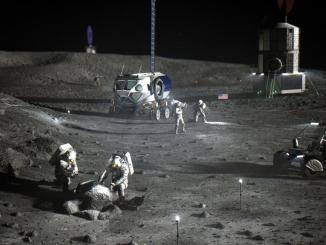 Ay'da üs kurmaya çalışan astronotlar